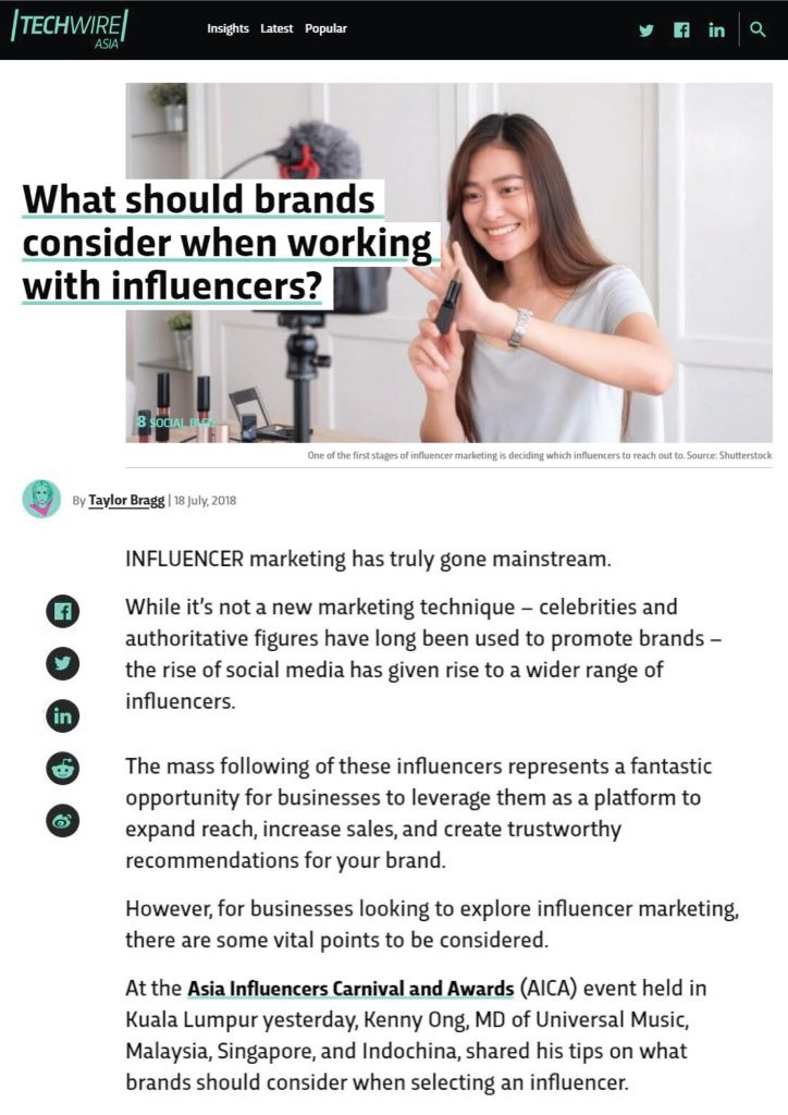 What should brand consider when working with influencers by TechWire Asia
