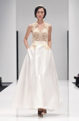 Designer Beige ball gown with embroidered bodice