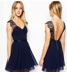 Lace V Back Dress Blue M