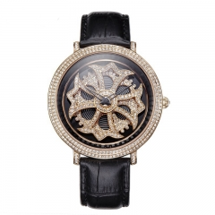 Davena Certified Swarovski Crystals Watch with Fortune Wheel Dial 30330 Black Gold