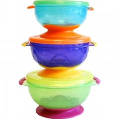 3pk Stackable Suction Bowls with Lids (6m+)