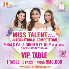 VIP Ticket 1 Table (10 pax) Miss Talent International Competition Malaysia