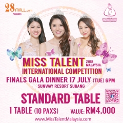 Standard Ticket 1 Table (10 pax) Miss Talent International Competition Malaysia