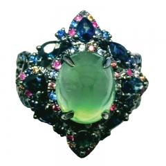 L'Victoire Joaillerie Dark Angle Series:  Green Prehnite Ring
