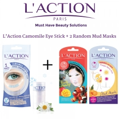 L'Action 1 Camomile Eye Stick + 2 Mud Masks - Made in France 11.11