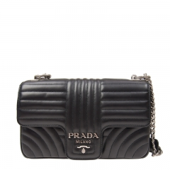NEW PRADA 1BD108 2D91 F0633 Calfskin Black Handbag