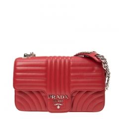 NEW PRADA 1BD108 2D91 F0011 Calfskin Red Handbag