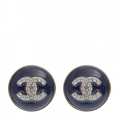 NEW CHANEL A58446 Metal Blue Earrings