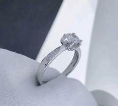 18K Gold Diamond Ring GIA Cert Color D Clarity VS2 0.5 Carat