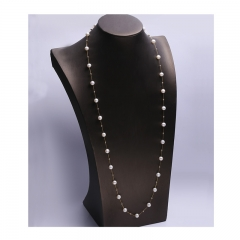 18K Gold necklace + 18K Gold beads 22pcs + white pearl 6-7mm 28pcs