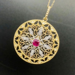 18K Gold and White Gold Ruby 0.38ct Pendant Diameter 29mm