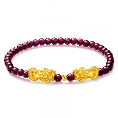 999 Gold Pixiu (Fortune Animal) & Genuine Garnet Beads Precious Gemstone with Gold Bead Bracelet