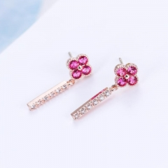 18K Gold Red Ruby 0.4ct + Genuine Diamond 0.12ct Four-Leaf Clover Earrings