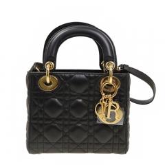 New Christian DIOR CAL44500 N0 Lambskin Black Handbag